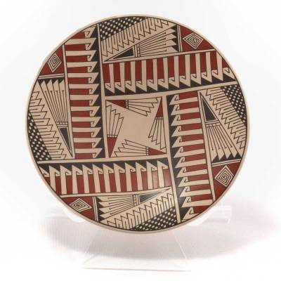 Blanca Quezada Blanca Quezada: Small Mimbres Style Plate Feather Patterns Geomtric