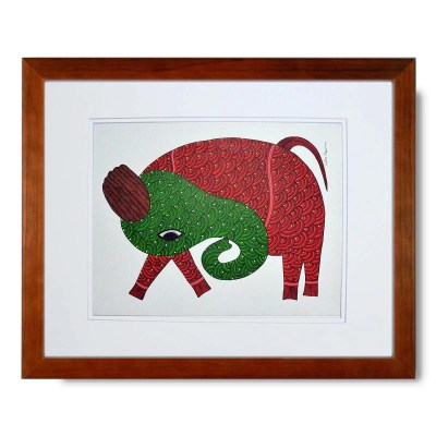 Gond Tribal Art Manoj Tekam: Elephant – In Stock Elephant