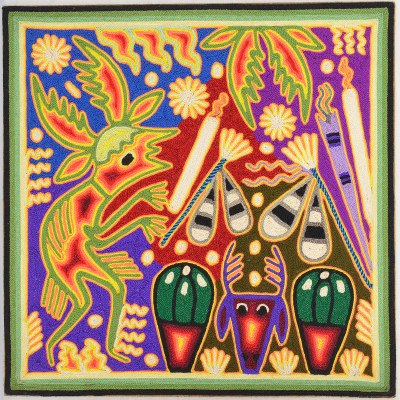 Tucson Lifestyle Feature Maximino Renteria de la Cruz & Yolanda Diaz Medina: Huichol Yarn Painting 12″ Shamanism
