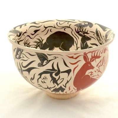 Abraham Rodriguez Abraham Rodriguez: Stunning Multicolor Wildlife Sgraffito Bowl sgraffito