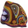 Wixárika (Huichol) Art Santos Bautista: Jaguar Head Large Wood Carved  w/ metallic beads Beaded