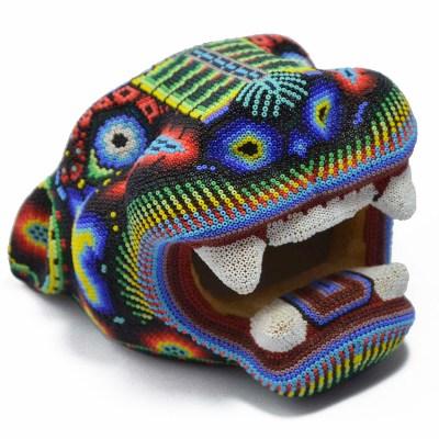 Wixárika (Huichol) Art OctavianoVilla Lopez : Jaguar Head Small Wood Carved & Micro  Beaded – Corn Motif Beaded