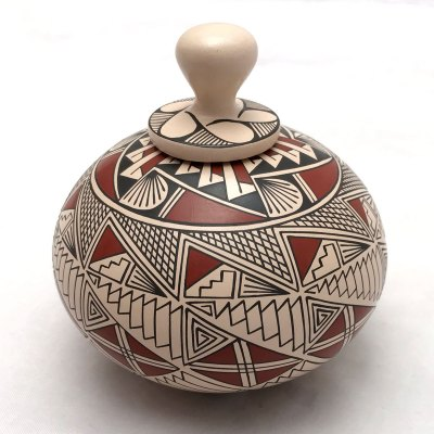 Blanca Quezada Blanca Quezada: Small Geometric Triangles Pot with Top Geometric