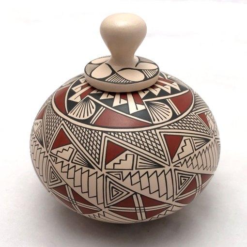 Blanca Quezada Blanca Quezada: Small Geometric Triangles Pot with Top Geometric