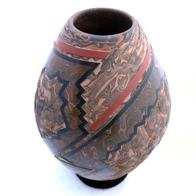 Salvador Baca & Virginia Lazoya Salvador Baca & Virginia Lazoya: Medium Showcase Etched Marbleized Clay sgraffito