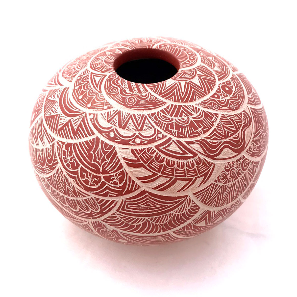 Paula Gallegos Bugarini Paula Gallegos Bugarini: Small Fine Red on Tan Geometric Geometric