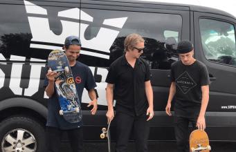 Victor Brooks, Ben Sauer, Ryan Shultz give away Supra shoes at skatepark