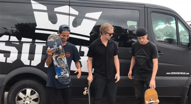 Victor Brooks, Ben Sauer, Ryan Shultz give away Supra shoes at skatepark
