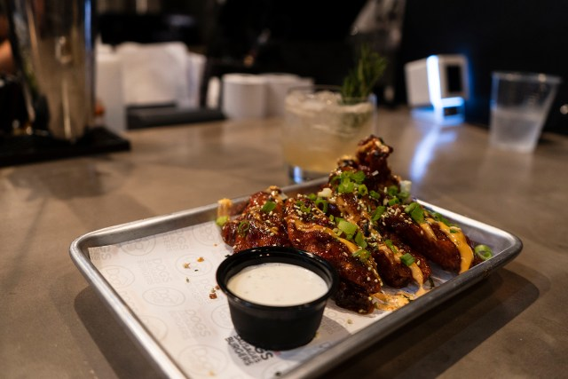 Korean Fried Chicken Wings available at Dog Haus
