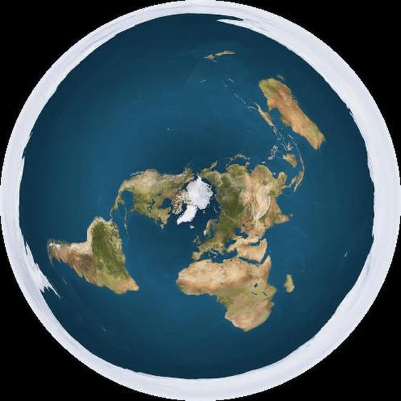 Mapamundi de la Tierra según los defensores de la tierra plana.