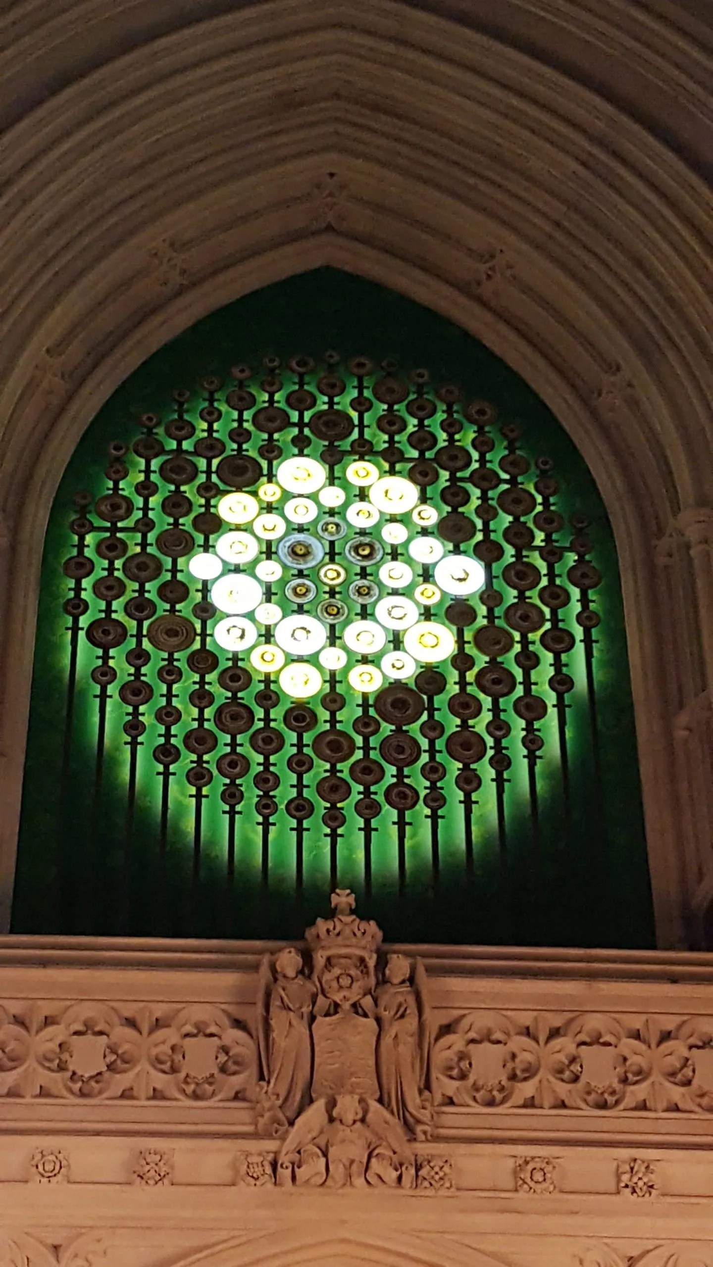 New Dawn Light Sculpture by Mary Branson in the Palace of Westminster