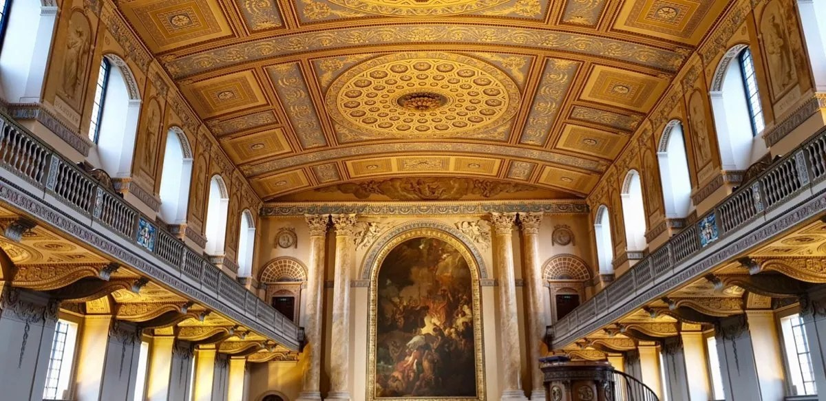 Mould plaster and carved wood baroque church interior Royal Hospital Greenwich