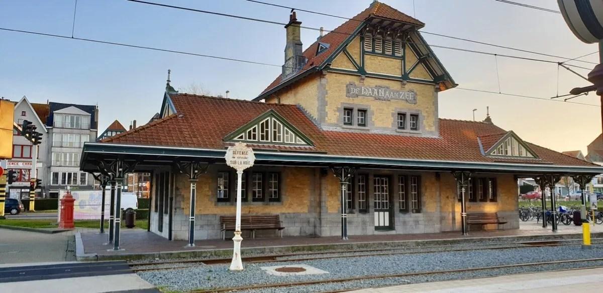 Belle Epoque tram stop De Haan Belgium