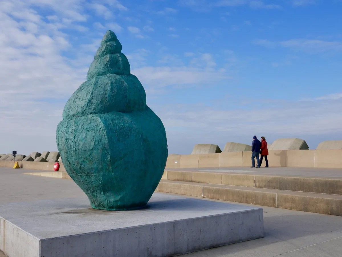 Large green whelk sculpture Ostend
