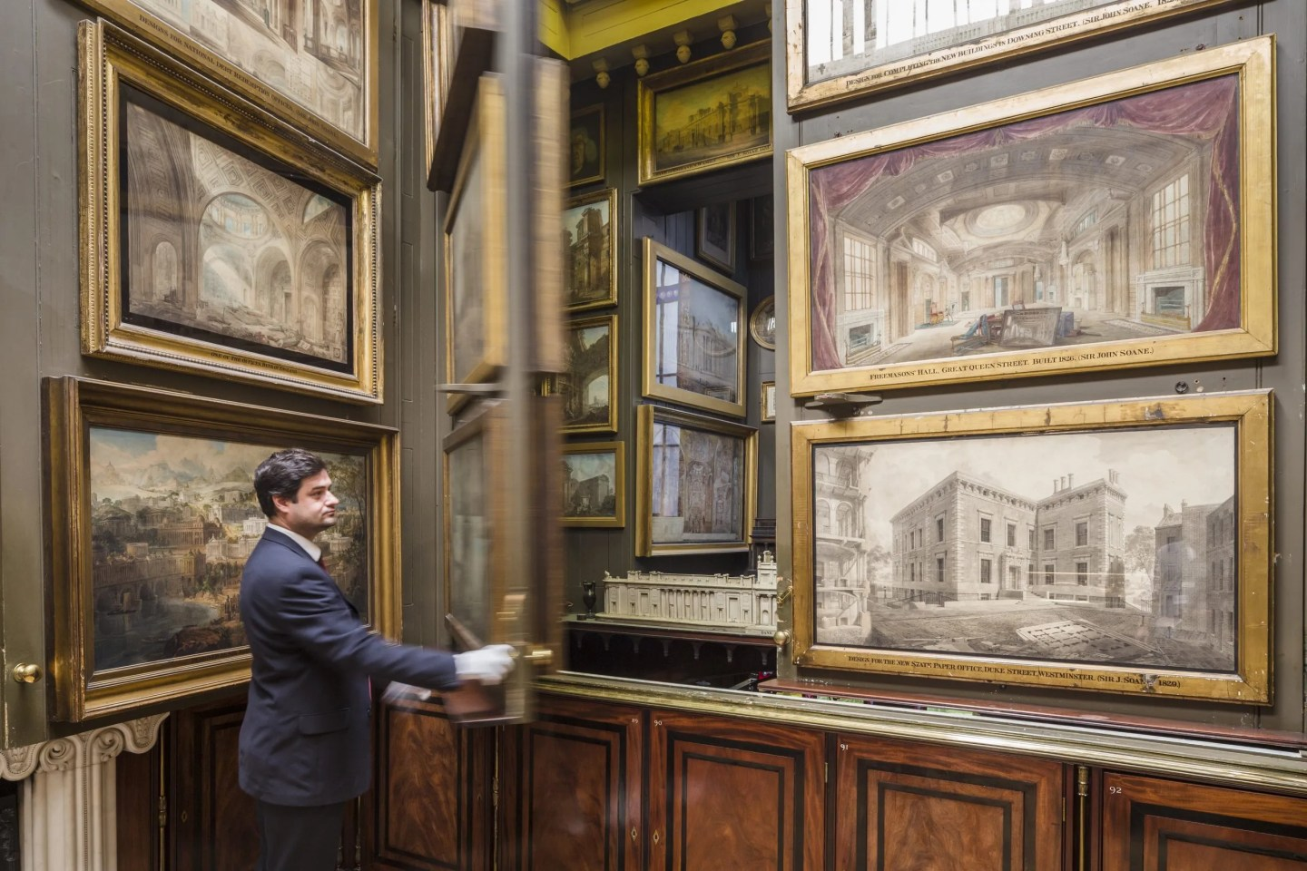 Picture Room being opened Soane Museum