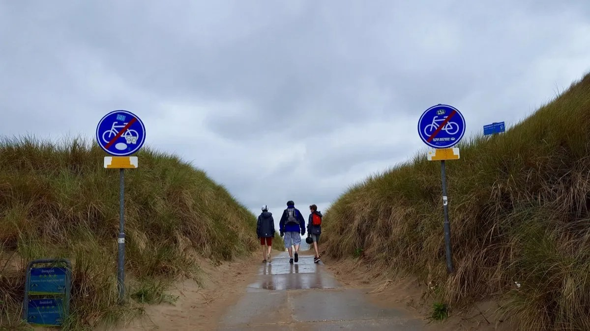 Two boys and a man walking down toward a beach on a grey day