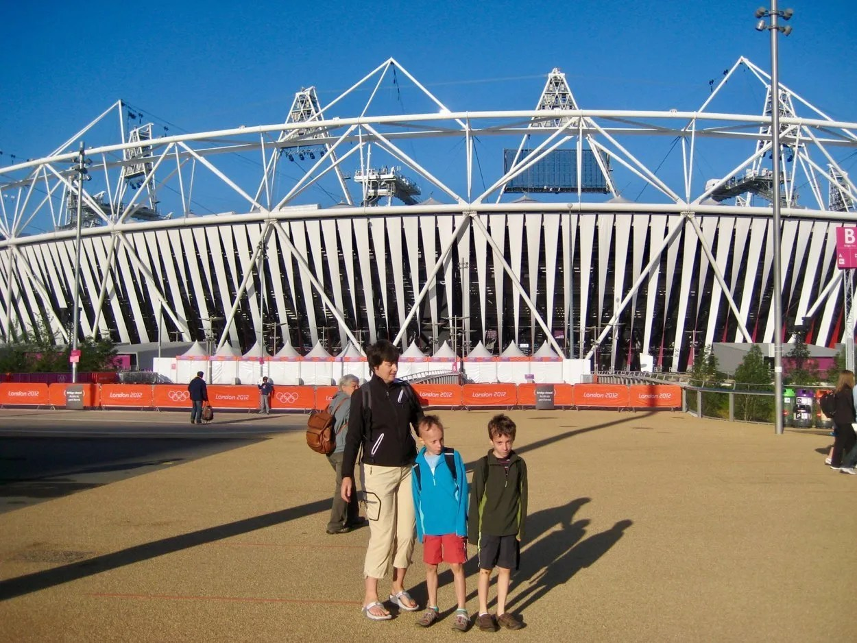 Woman and two small boys outside London Olympic Stadium 2012