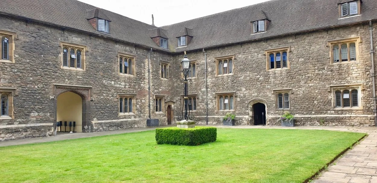 Tudor Courtyard with grass centre London Charterhouse