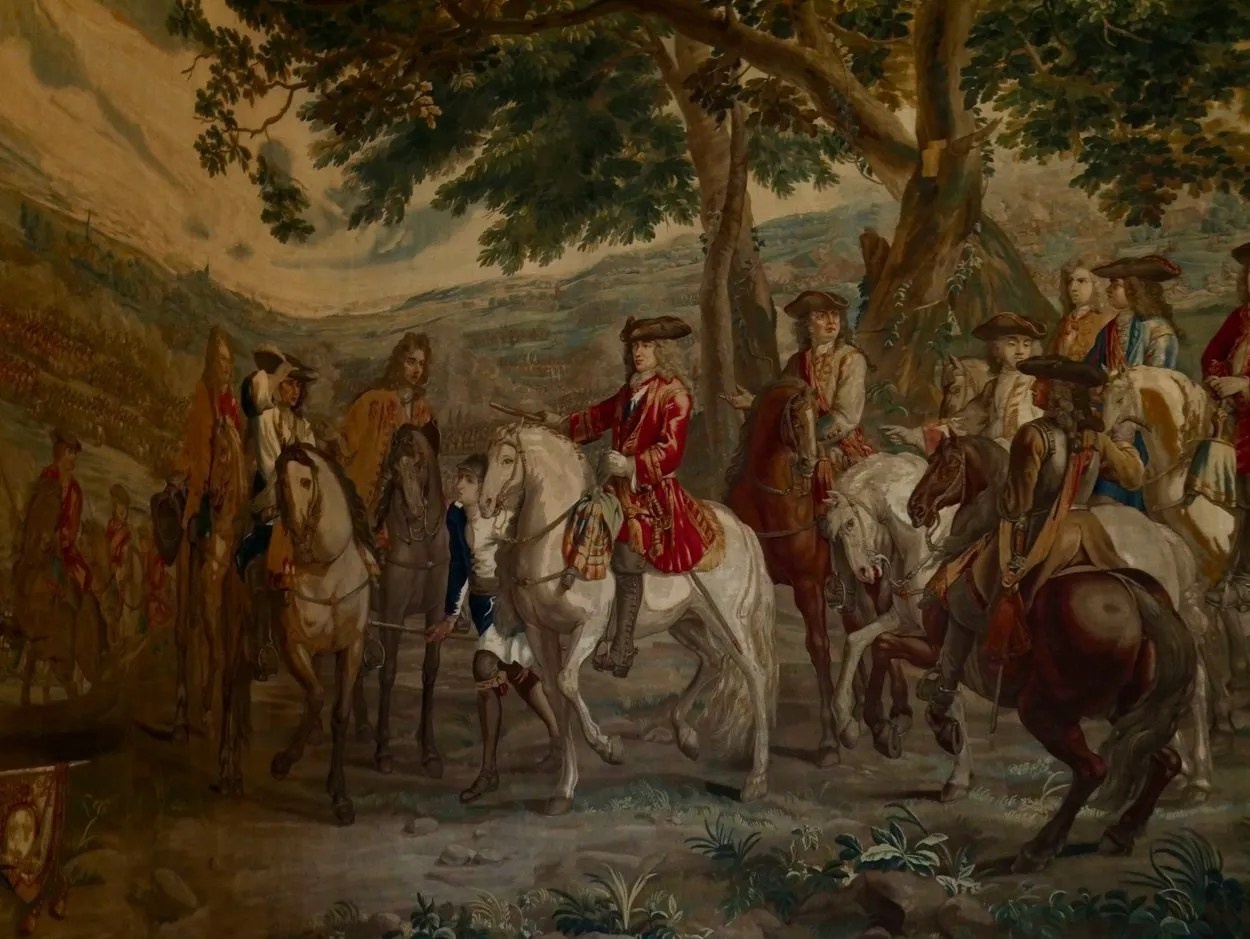 Duke of Marlborough shown at Blenheim in tapestry