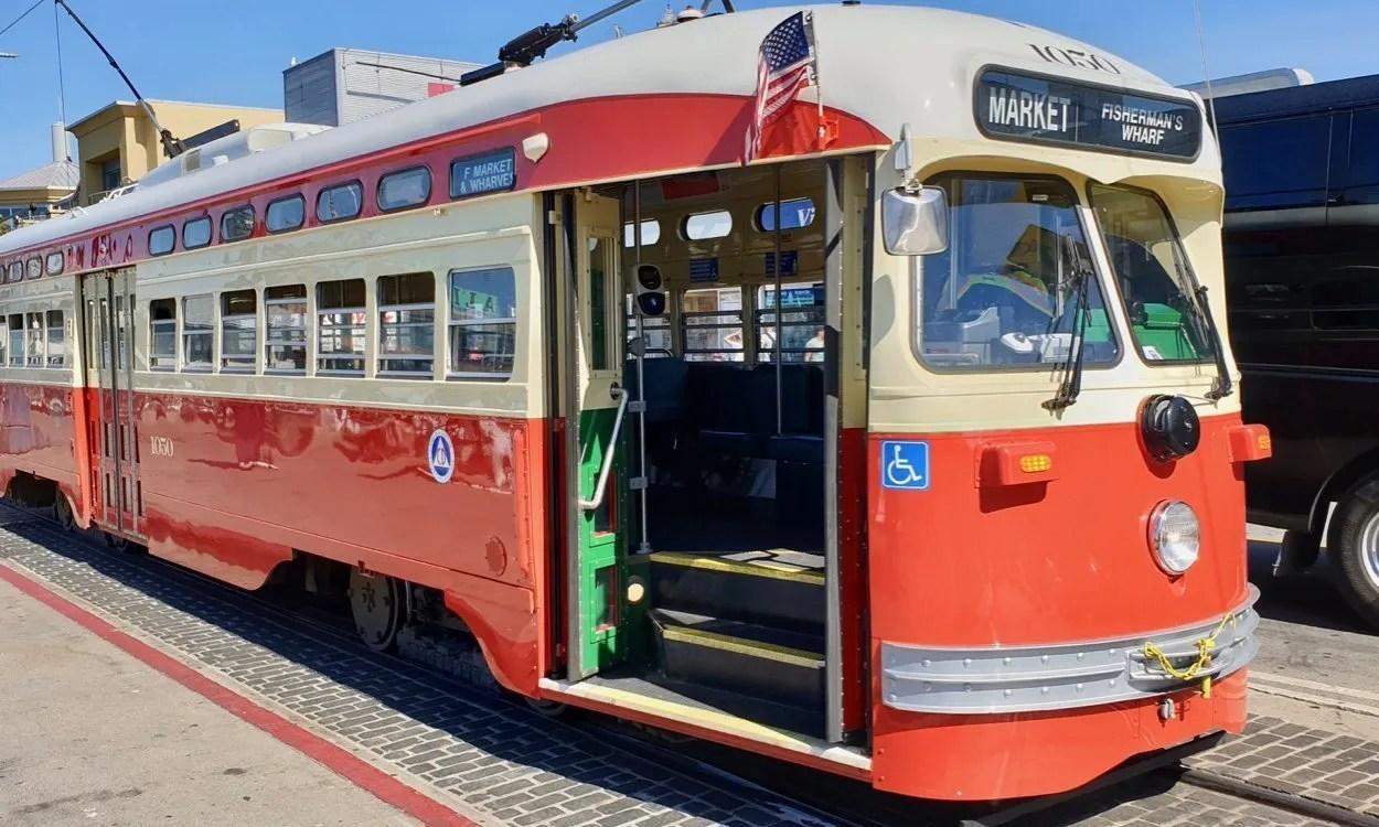 Vintage red street car f line San Francisco