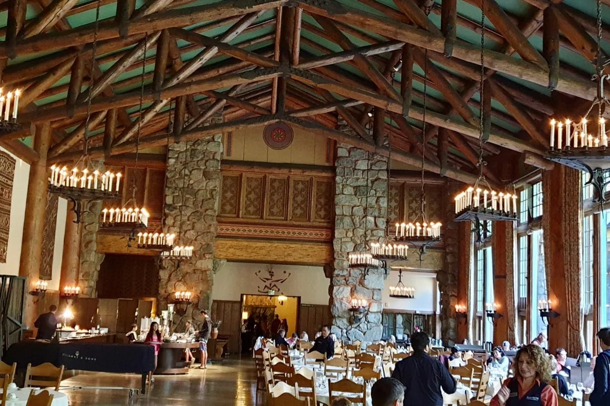 Large stone and wood formal dining room Ahwahnee Hotel Yosemite