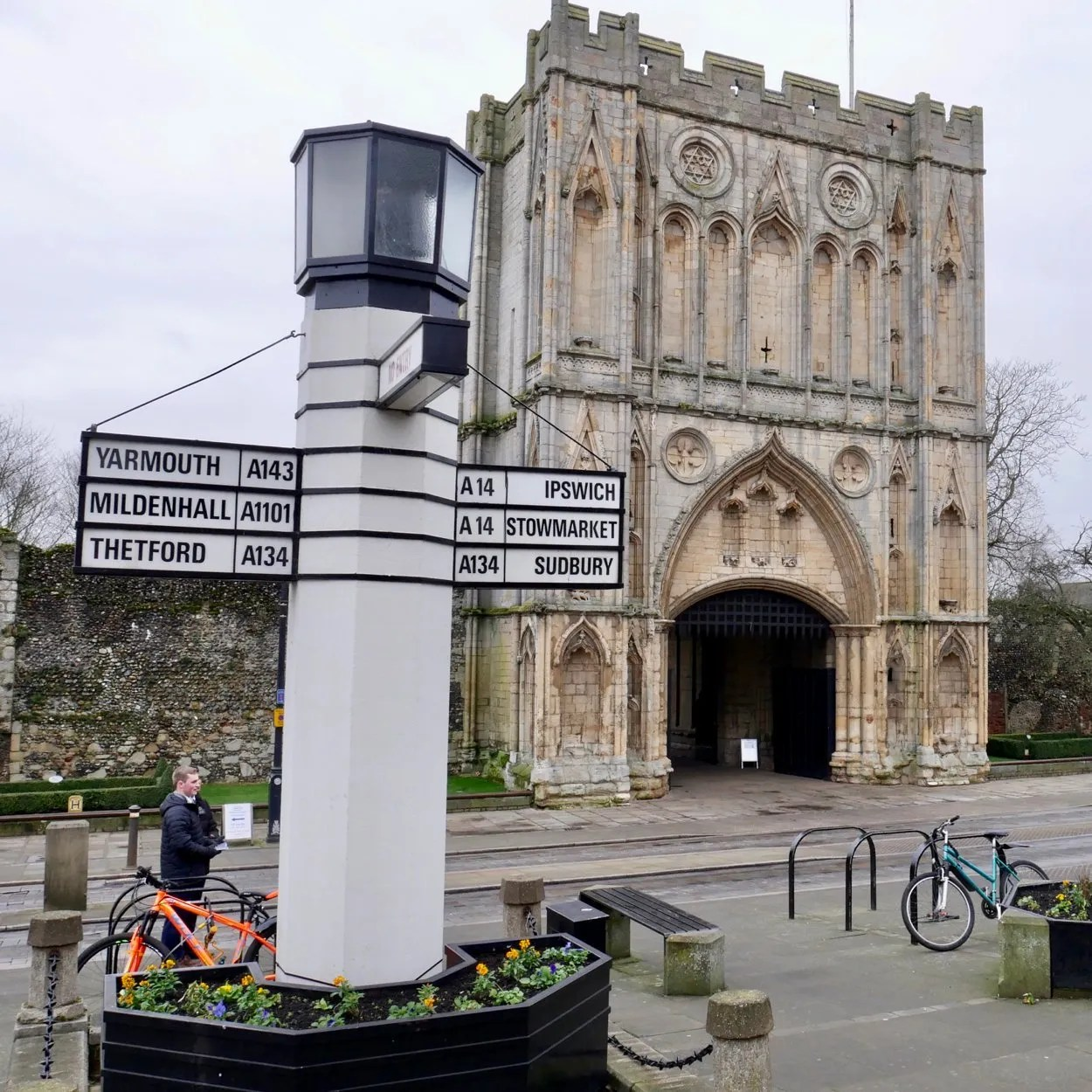 Large white signpost known as the Pillar of Salt Bury St Edmunds