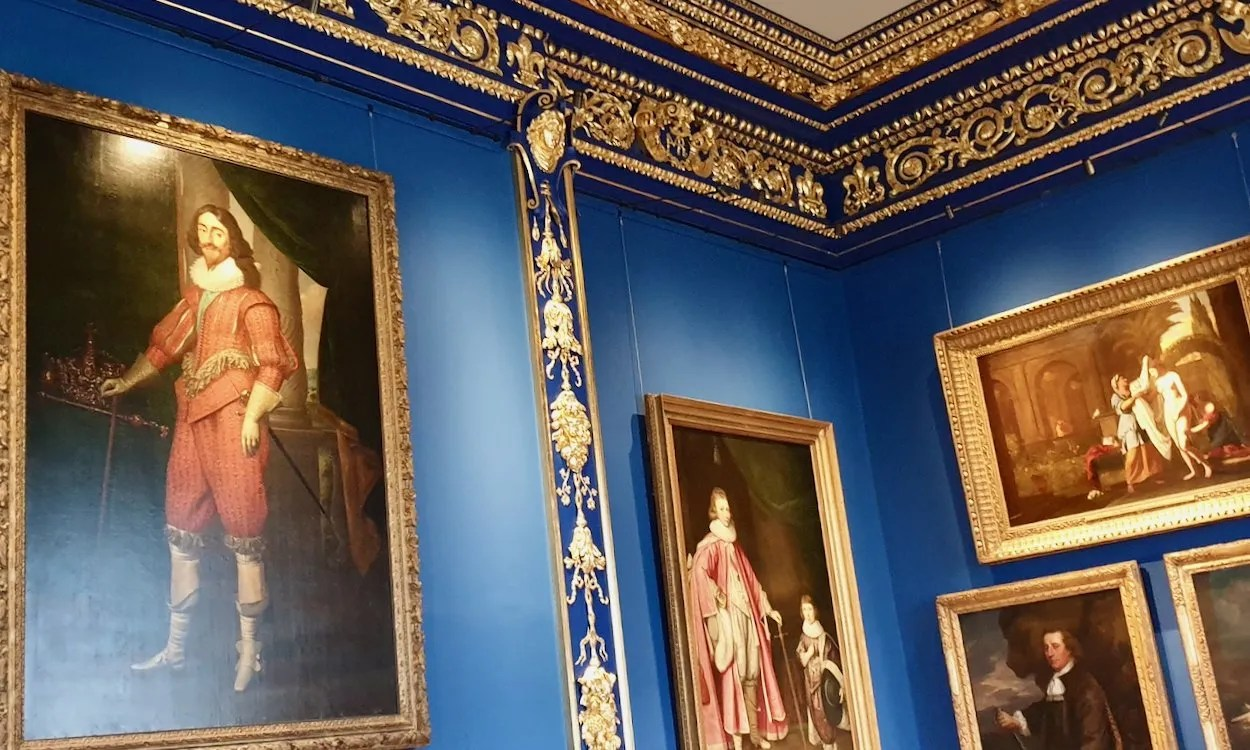 Portrait of Charles 1 on blue and gold walls Queen's House Greenwich