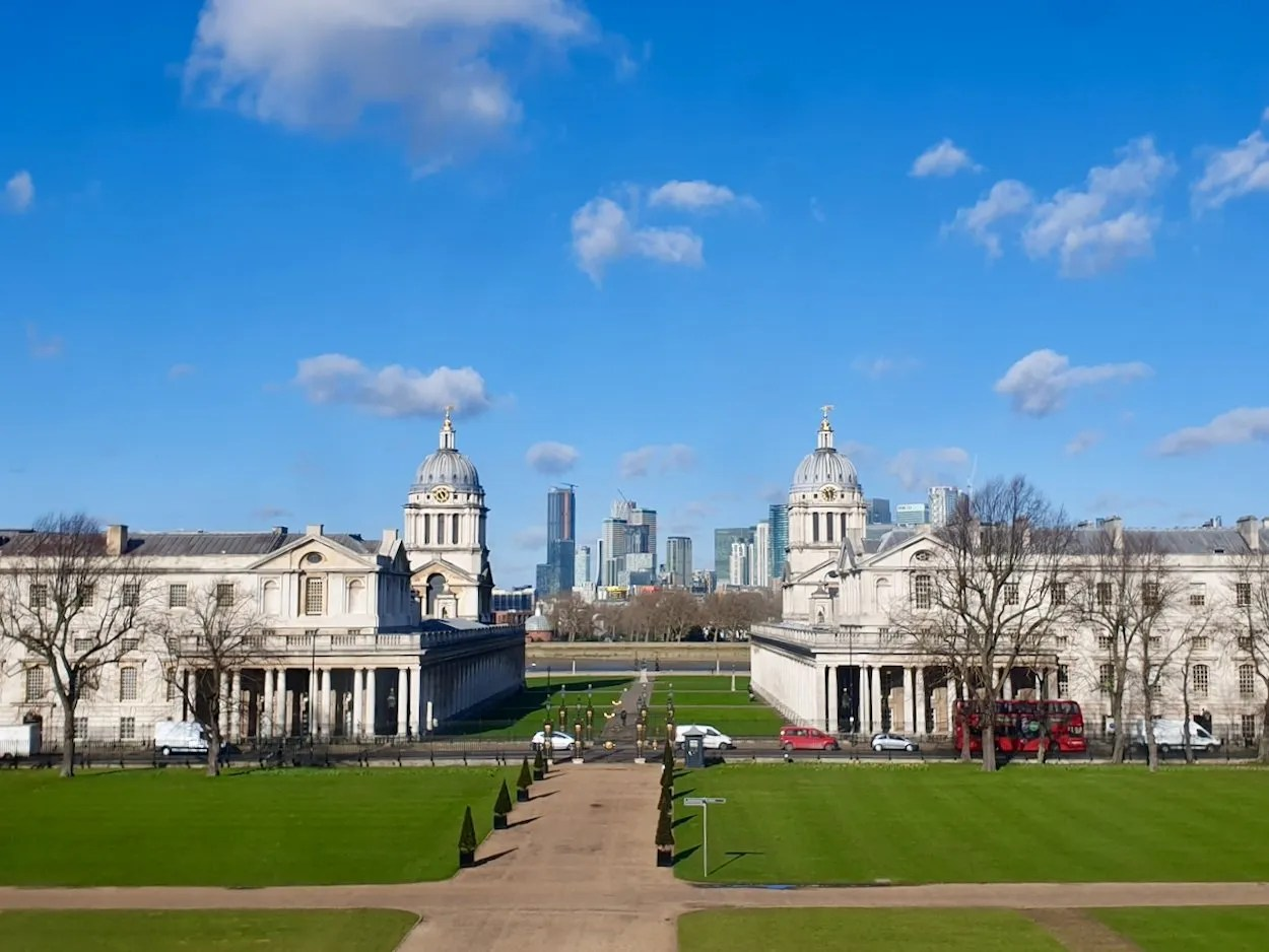 View of Old Royal Naval College Greenwich with Canary Wharf beyond taken from Queens House