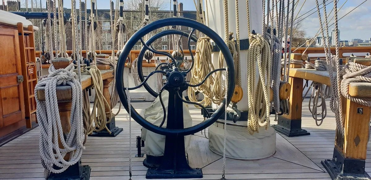 Rigging and ships wheel on Cutty Sark Museum Ship