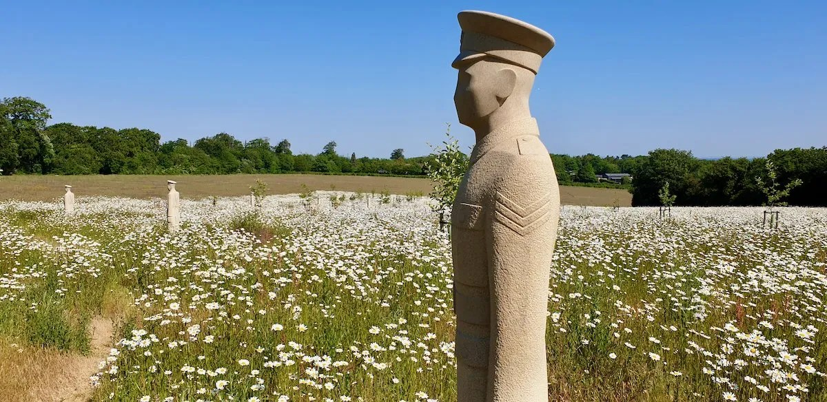 Regiment of Trees stone statue by Patrick Wall of a soldier surrounded by ox eye daisies at Langley Vale Wood