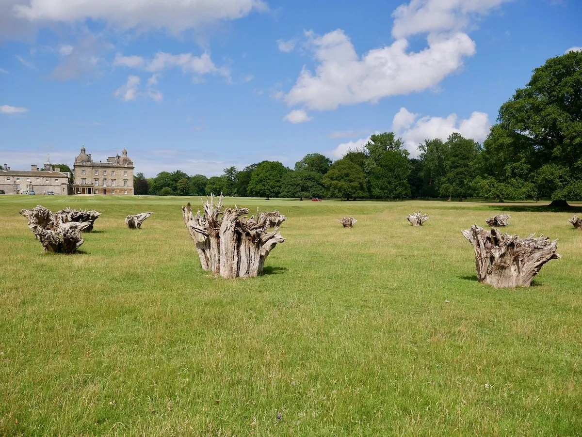 White Deer Circle by Richard Long sculpture of a circle of ruptured tree roots at Houghton Hall
