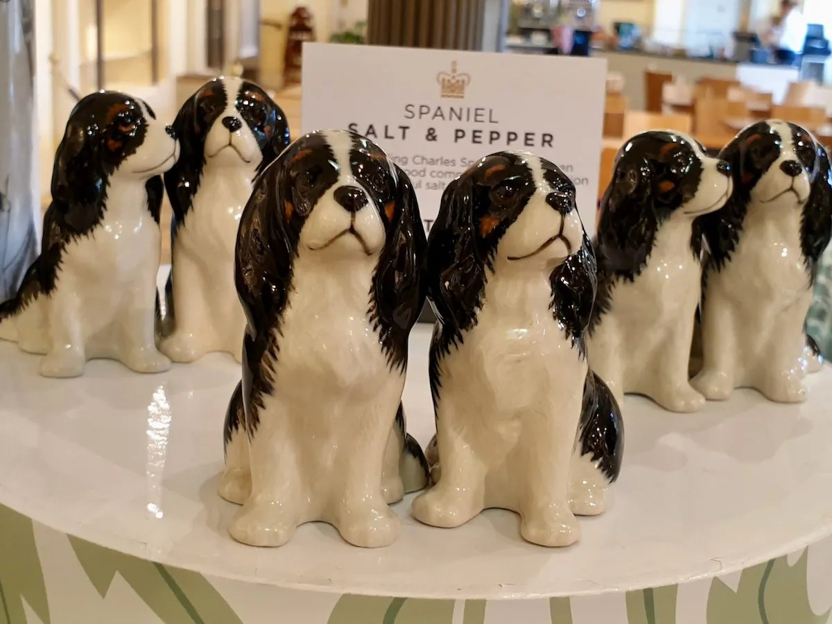 Dash spaniel salt and pepper pots Kensington Palace shop