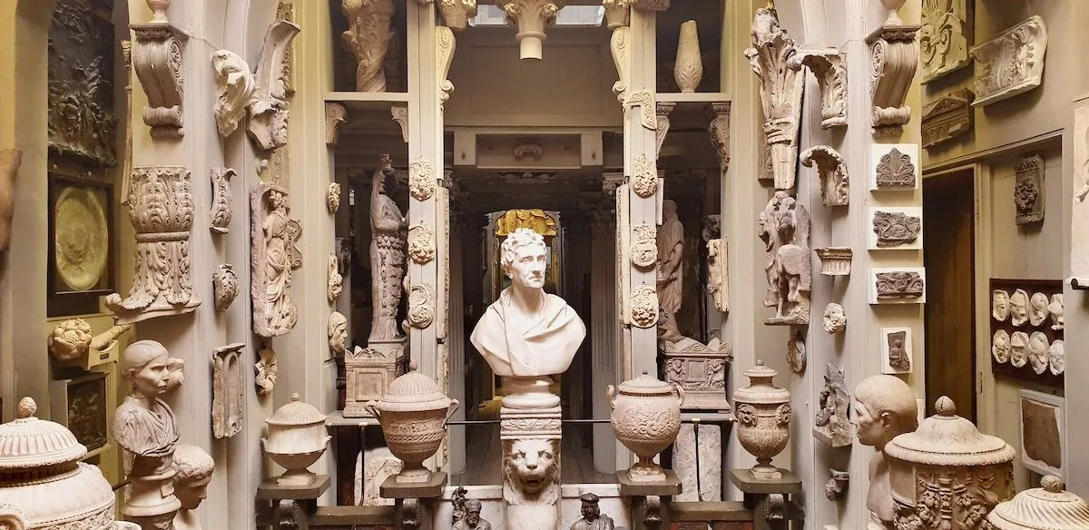Soane museum bust plus collection of Roman architectural artefacts