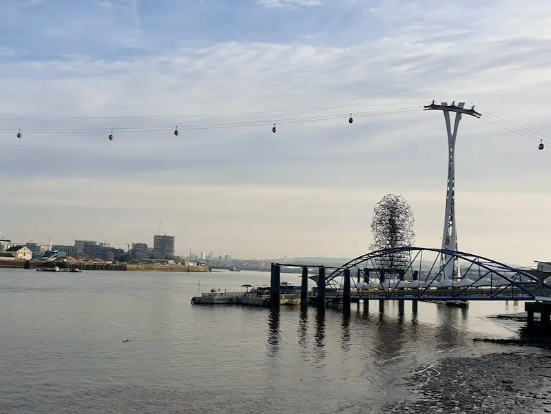 Quantum Cloud sculpture by Antony Gormley on Thames London under the Emirates Cable car part of The Line sculpture trail