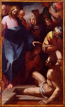 la résurrection de lazare musée de Beauvais -MAZZUCHELLI Pier Francesco, MORAZZONE IL (dit) -AVEC SAINTE MARTHE AU CENTRE DE LA SCENE
