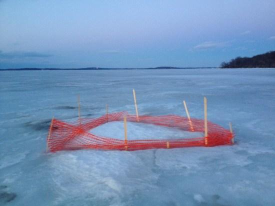 frozen Lake Medota in Madison, WI