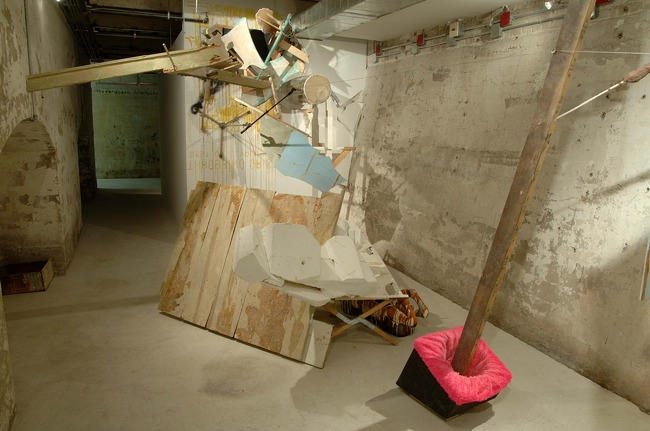 """Under Guests to Drift Living"" Wood, paper, vinyl, fiberglass, plastic, graphite, iodine, paint, bones, dust, glitter, fabric, string, dimensions variable, 2005"