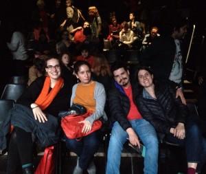The author with Natalie Driemeyer (dramaturg, Germany), Veronica Bujeiro (playwright, Mexico) and Sebastian Illera (playwright, Colombia)