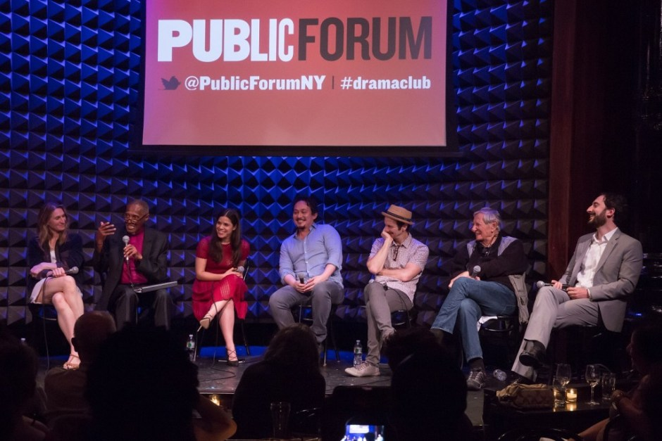 The cast of Public Forum Drama Club: Antigone, at Joe's Pub at The Public on May 10. Photo credit: Simon Luethi.