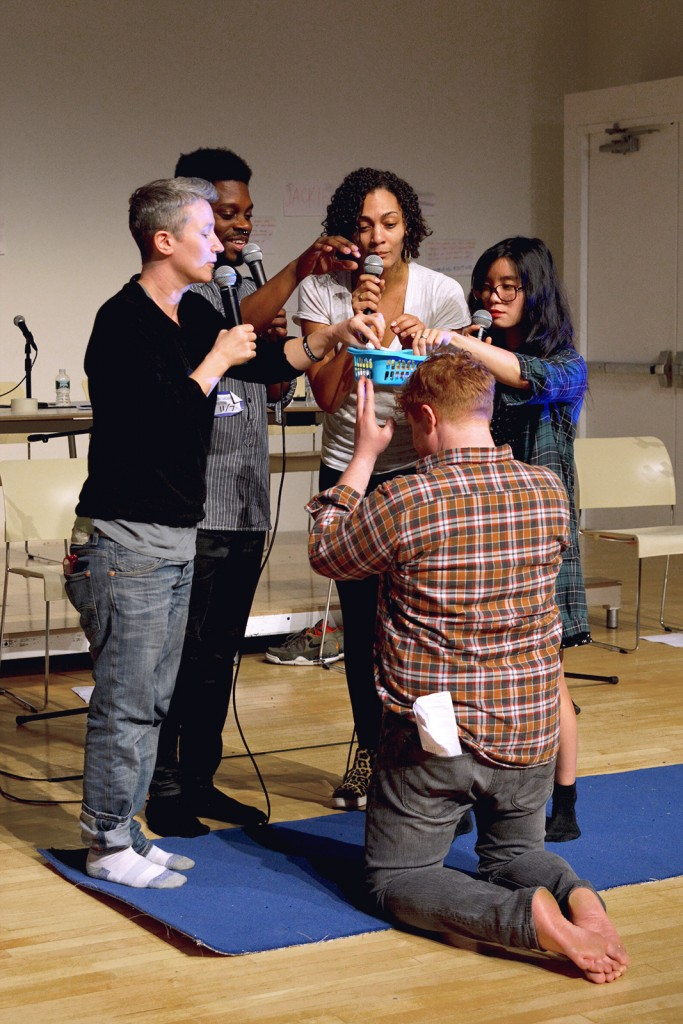"Actors stage a mock-tasting of ""diverse cheeses"" during Director JJ Lind's study week as  part of X-ID REP at New Museum, New York, 2015. Pictured (left to right): Drae  Campbell, Mikeah Jennings, Amelia Workman, Becca Blackwell, Youree Jong Choi."