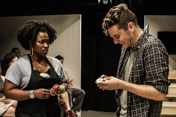 Stacey Sargeant plays Laila and Michael Urie plays the Writer in Homos, or Everyone in America. (© Monique Carboni)