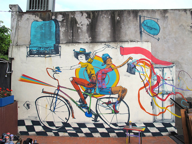 Bicycle street art in argentina by mart for Collant mural hibou