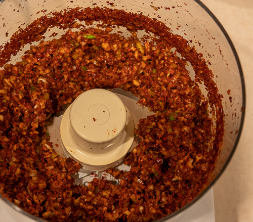 Kimchi paste in a food processor.