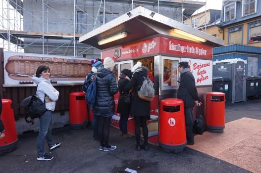 Iceland's famous hot dogs at Bæjarins Beztu Pylsur in downtown Reykjavík