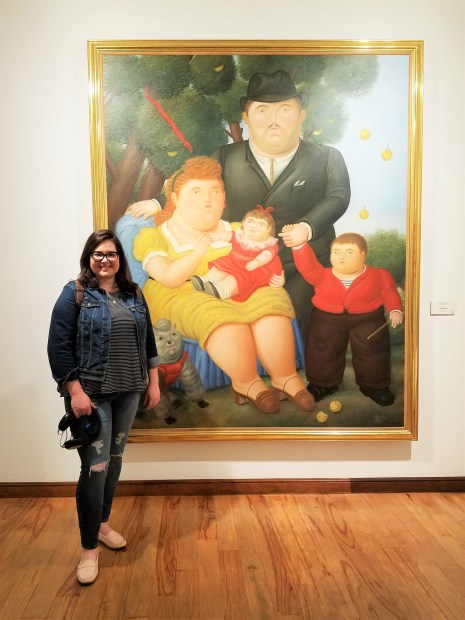 Michelle with a Fernando Botero painting at the Botero Museum in Bogota, Colombia