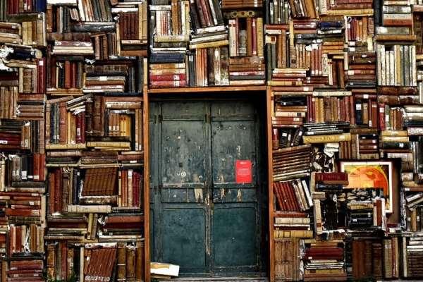 Wall of Books (Public Domain)