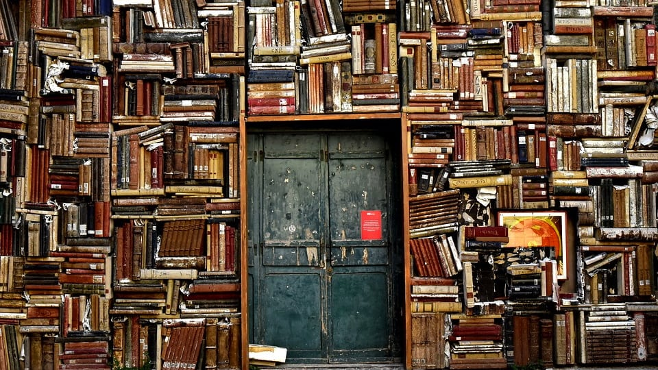 Wall of Books (Public Domain)