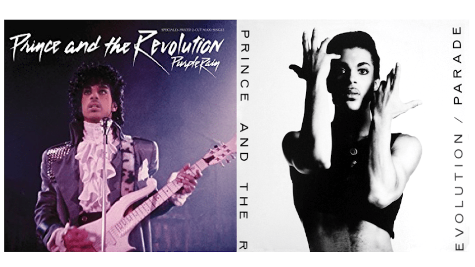 """Purple Rain"" and ""Parade"" album covers (Fair Use)"