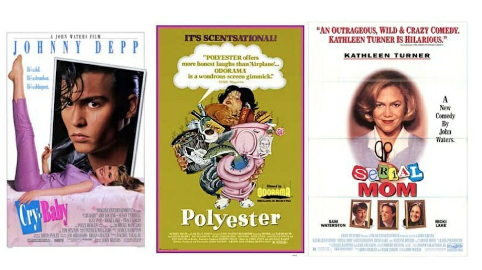 Fair use images of movie posters for Serial Mom, Cry-Baby, and Polyester.