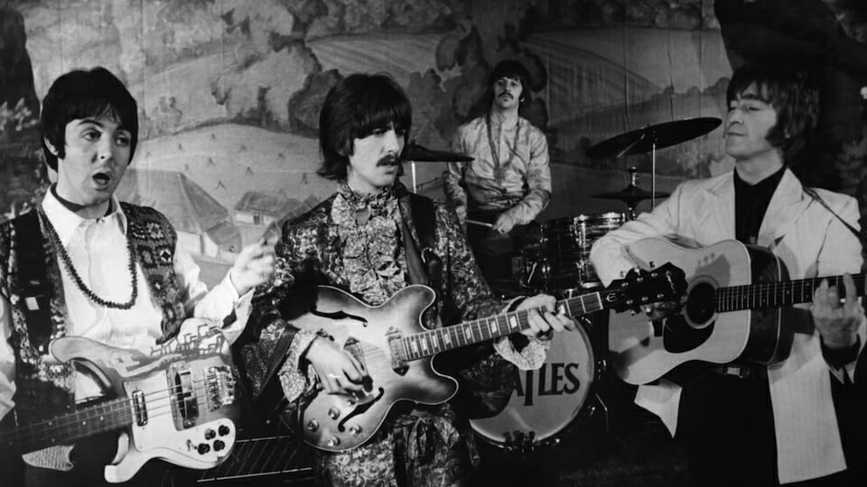 Paul McCartney, George Harrison, Ringo Starr, and John Lennon circa 1968